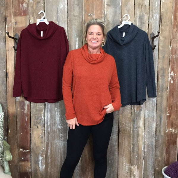 Solid Long Sleeve Top with Loose Turtle Neck and Back Accent (GA)