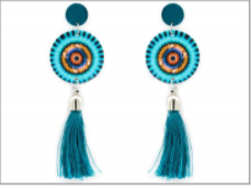 Turquoise Round Printed Wood with Tassel Earrings MJB