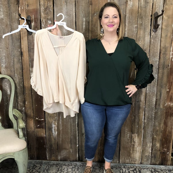 Plus Solid Surplice Top with Ruffled Cuffs (GA2)