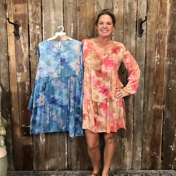 Tie Dye Long Sleeve Dress with Elastic Sleeves and Button Front Detail (GA2)