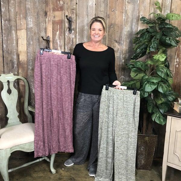 High Waisted Heathered Wide Leg Lounge Pants, Lined (GA2)