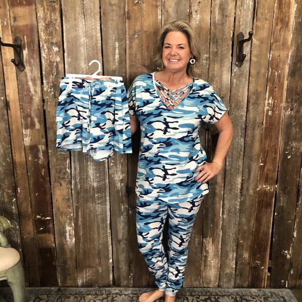 Blue/Grey Camo Print Top/Short/Pant Loungewear (GA2)