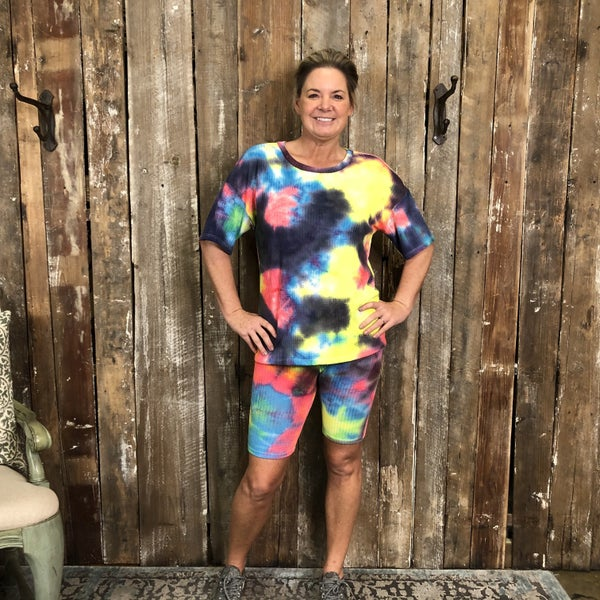 Multi Color Tie Dye Short Sleeve/Shorts Lounge Wear Set(GA2)