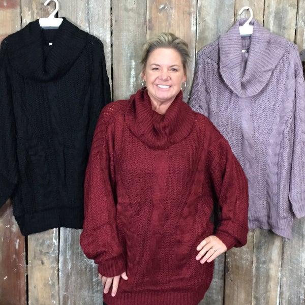 Crochet Knit Long Sleeve Turtle Neck Sweater(GA2)