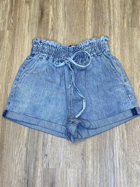 Boutique Item: Easel Medium Denim Shorts with Elastic Tie Waste Band