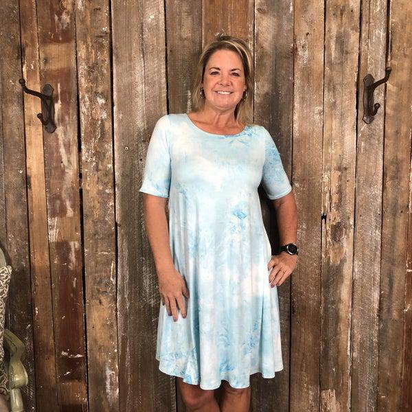 Sky Blue/White Tie Dye Dress/Tunic with Pockets (GA2)