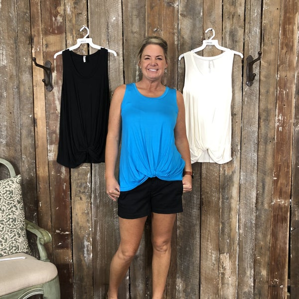Solid Sleeveless Top with Knotted Hem and Round Neck(GA2)