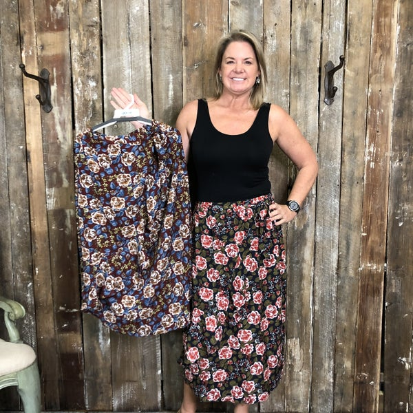 Floral Print Faux Wrap Skirt with Elastic Waist (GA2)