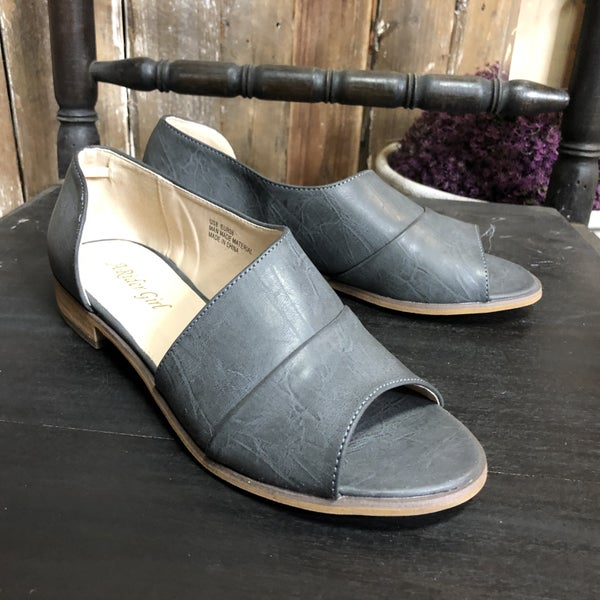 Grey, Open Toe, Faux Leather, Side Cut Out Flats (GA2)