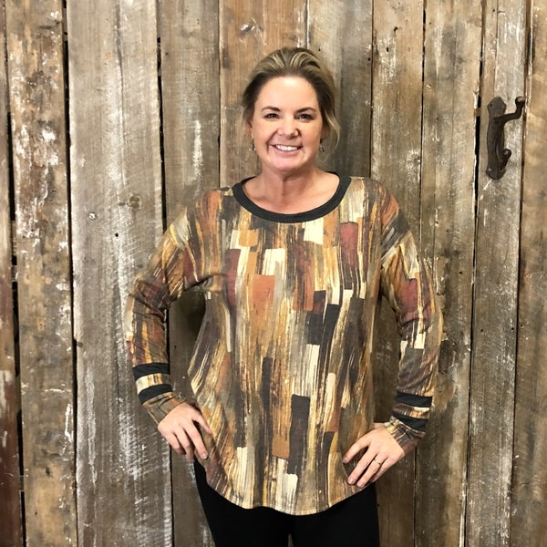 Gold/Cream/Charcoal Brush Stroke Print Top with Charcoal Stripes and Trim (GA2)