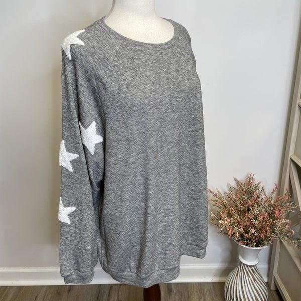 Boutique item Heather Gray Hacci Knit Star Patch Lightweight Sweatshirt MJB