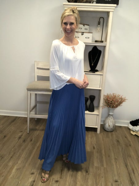 Blue Long Length Accordion Style Skirt with Elastic Waist