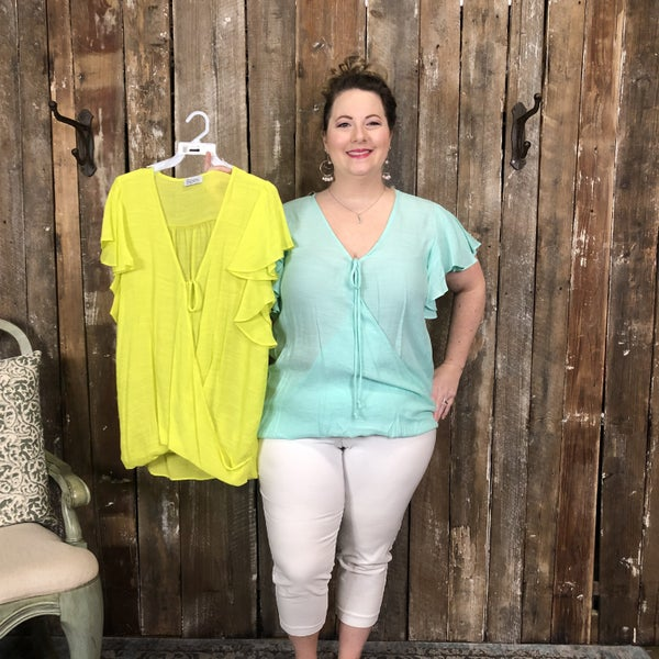 Plus Solid Short Sleeve Top with Tie Detail Surplice Front and Flutter Sleeves (GA2)