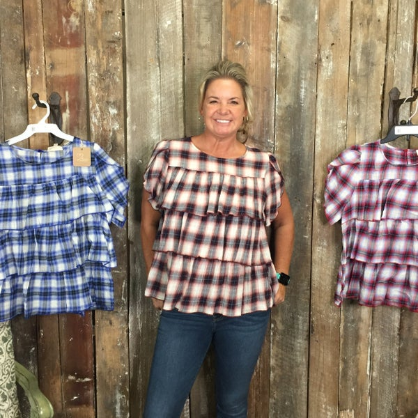 Plaid Short Sleeve Ruffle Top with Keyhole Back (GA2)