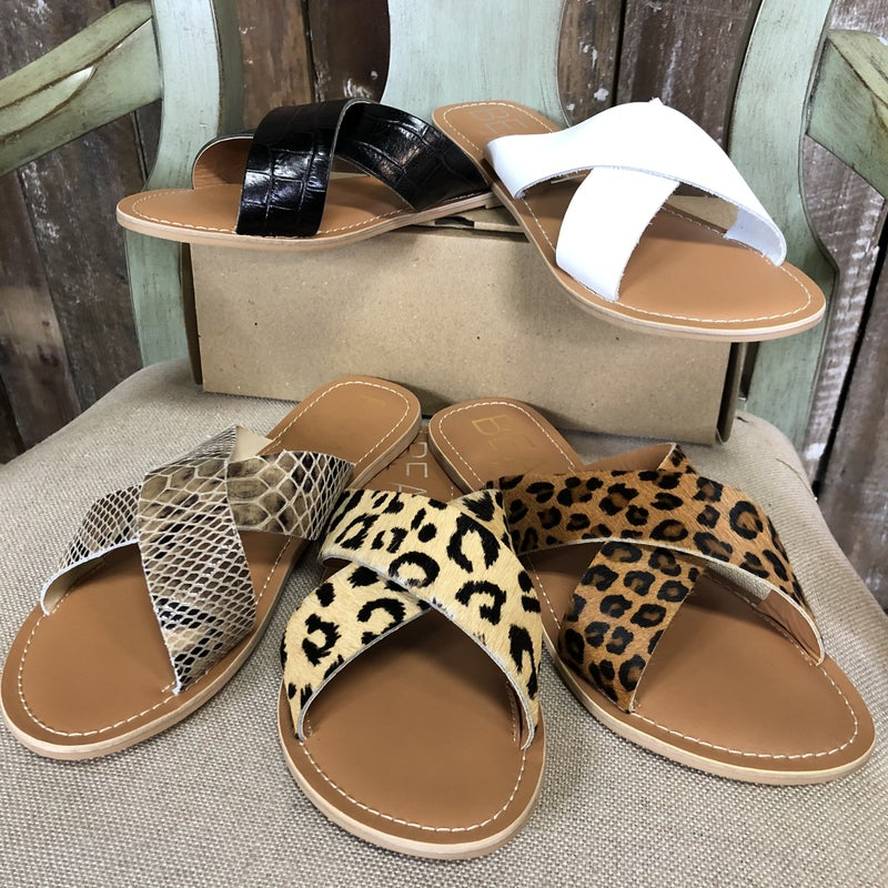 Pebble Crossed Slides, Real Leather Uppers, Free Shipping!