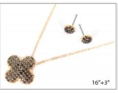 Gold Clover Pave Necklace Set