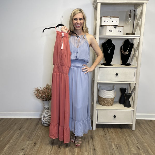 Boutique: Fully Lined Spaghetti Strap Dress w/Sheer Overlay and Ruching at Waist