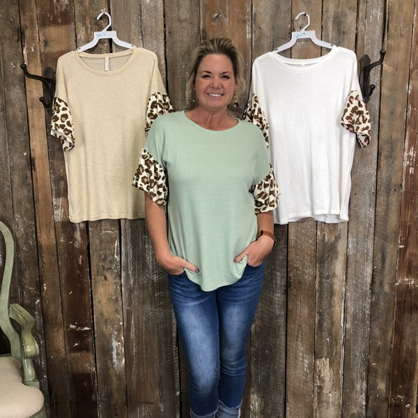 Solid Waffle Knit Top with Animal Print Sleeves(GA2)