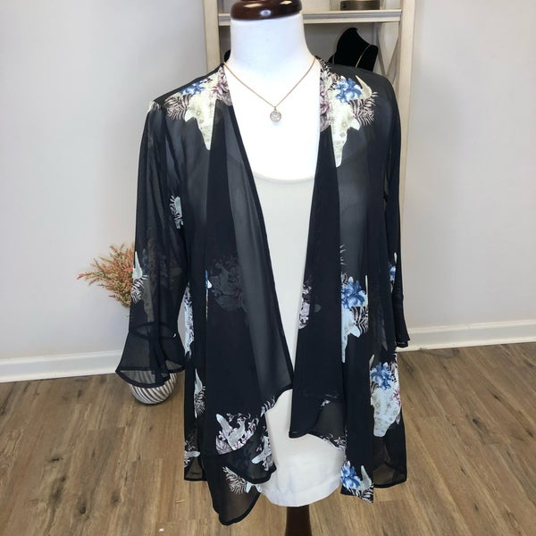 Black Sheer Kimono with Floral Steer Detail
