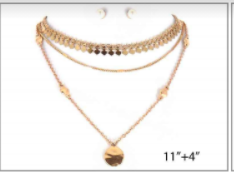 Gold Choker with Layered Gold Chains with Matching Earrings