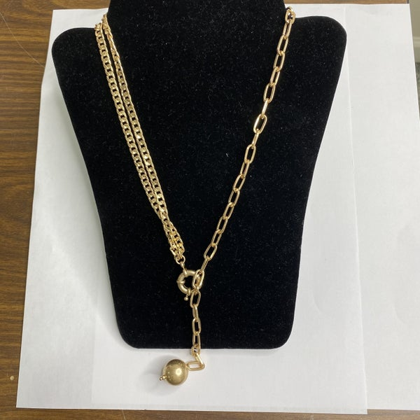 Gold Necklace with Ball Pendant