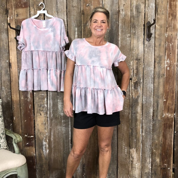 Grey/Pink Tiered Tie Dye Top/Tunic with Ruffled Sleeves (GA2)