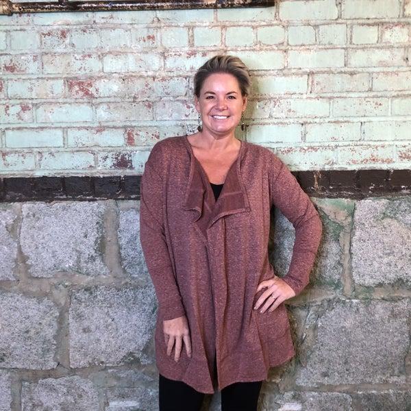 Heather Wine  Lapel Front Cardigan (GA2)