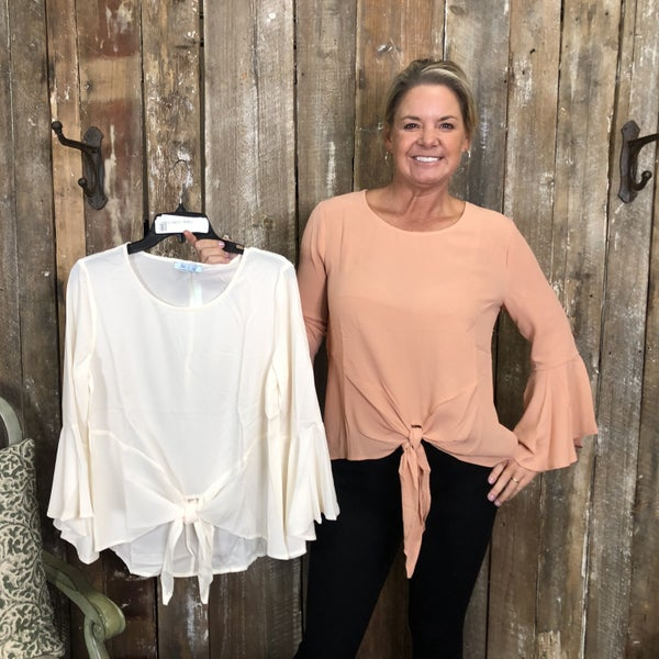 Solid Top with Long/Bell Sleeves and Tie Hem(GA2)