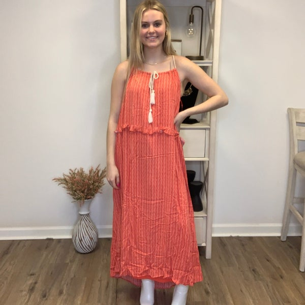 Boutique Item:  Fully Lined Coral Printed Dress w/Rope Spaghetti Straps and Tassels