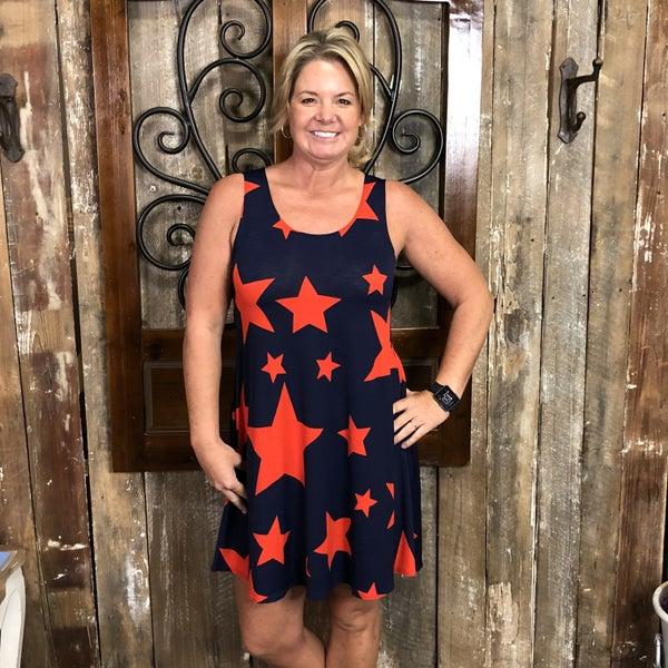 Sleeveless Star Print Dress/Tunic with Pockets (GA2)