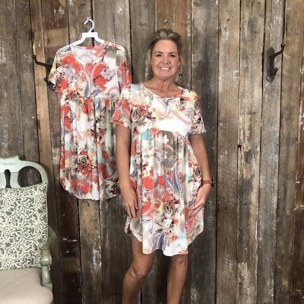 Cream/Tan/Coral Paisley/Floral Print Dress/Tunic with Pockets (GA2)