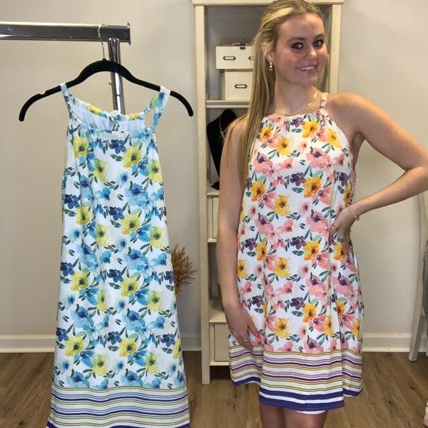 Boutique Item Sleeveless Floral Dress with Striped Hem MJB