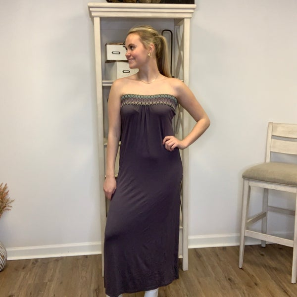 Long Strapless Dress Grey with Multi-Color Band