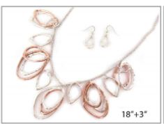 Silver Organic Metal Linked Necklace Set