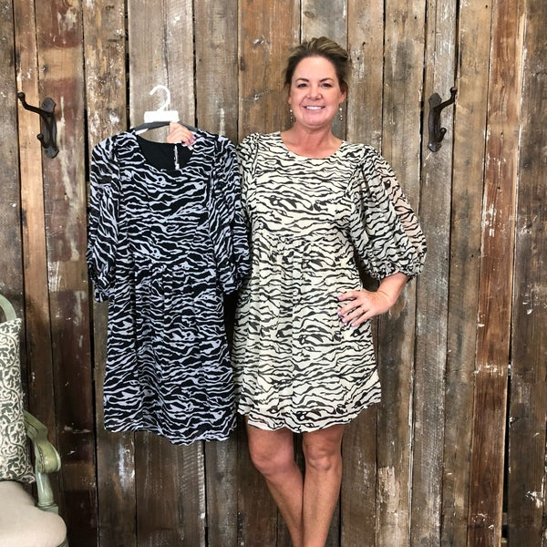 Animal Print Dress with Bubble Sleeves, Fully Lined (GA2)