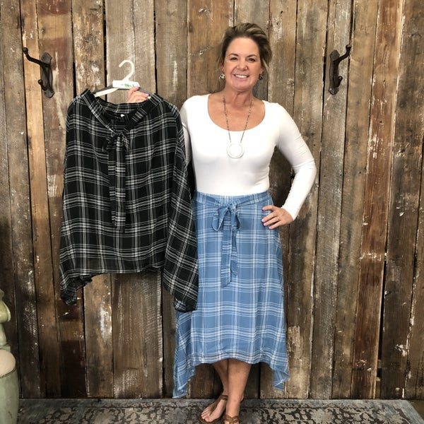 Plaid Mid-Length Skirt with Handkerchief Hem and Tie Waist Detail (GA2)