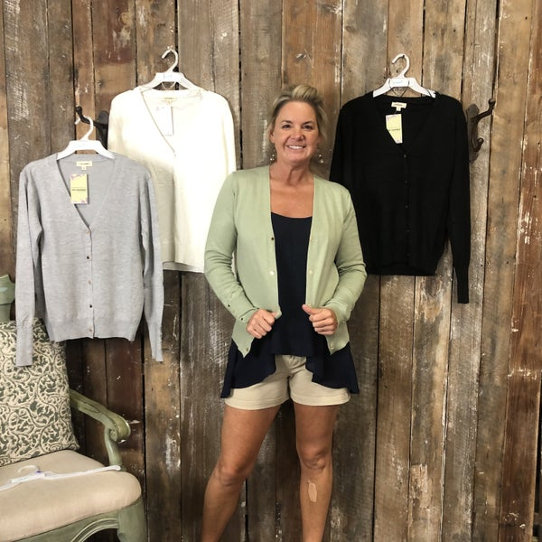Solid Cardigan with Button Cuff Detail (GA2)
