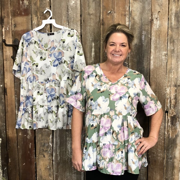 Floral Print Baby Doll Style Top with Short Sleeves (GA2)