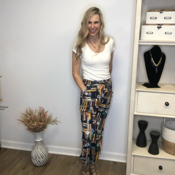 Boutique Item Easel Navy Tropical Printed Pants MJB