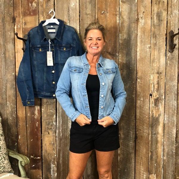 Plus Denim Long Sleeve Jean Button Up Jacket(GA2)