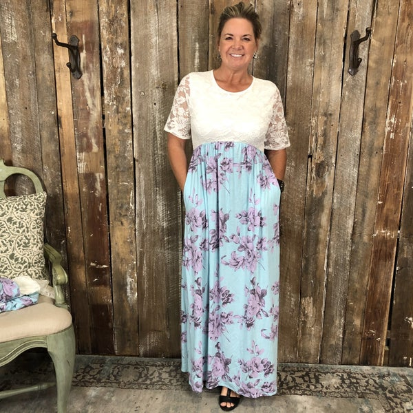 Ivory Lace/Blue/Purple Floral Print Two Toned Maxi Dress with Pockets (GA2)