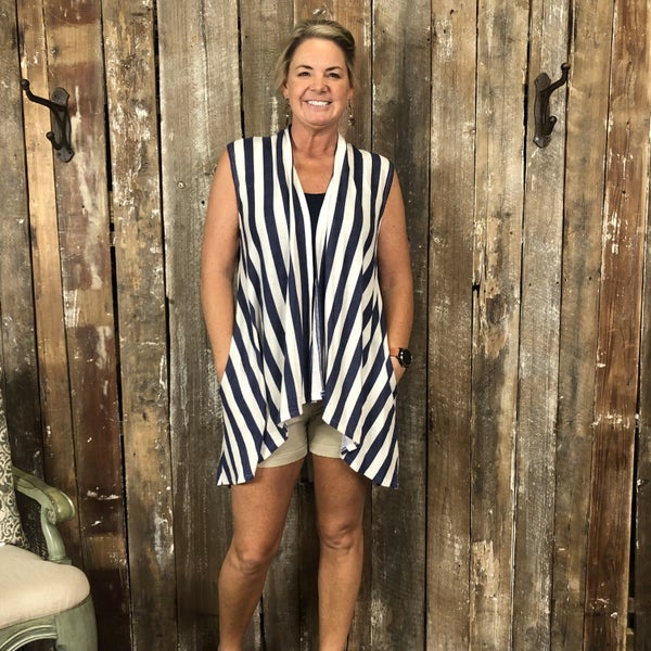 Blue/White Striped Vest with Curved Hem and Pockets (GA2)