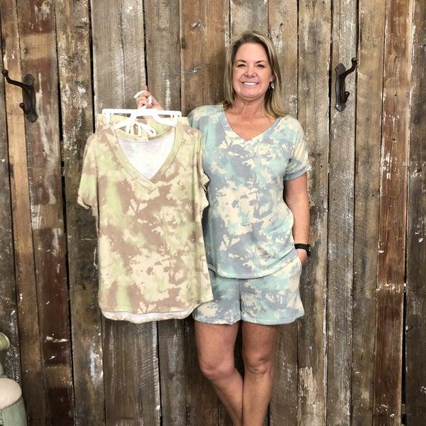 Tie Dye Short Sleeve/Shorts Loungewear Set with V-Neck(GA2)