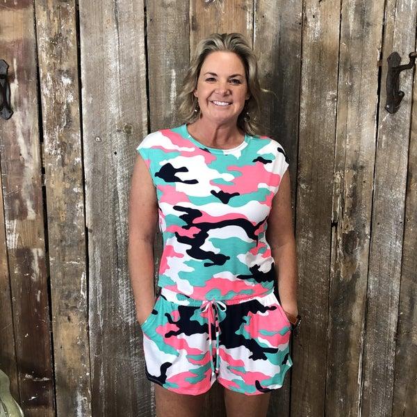 White/Pink/Teal Camo Print Cap Sleeve Top/Shorts Set (GA2)