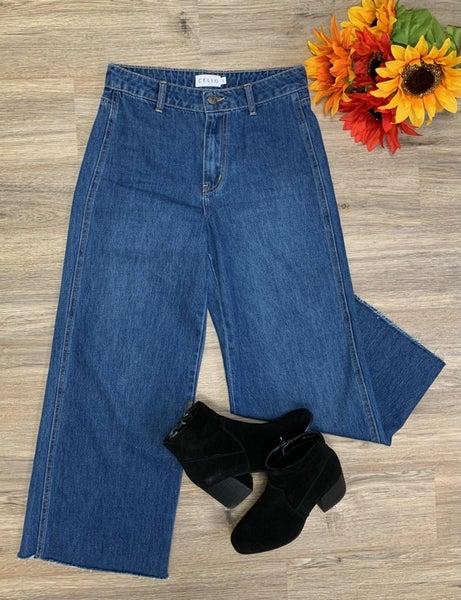 Boutique Item: High Rise Wide Cropped Leg Medium Wash Jeans MJB