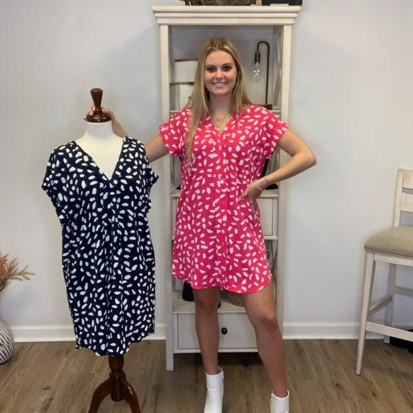 Boutique Item V Neck Dalmatian Print Dress with Pockets MJB