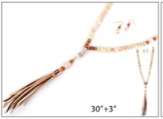 Long Wood Beaded with Matte Glass Beads and Leather Tassel Necklace Set