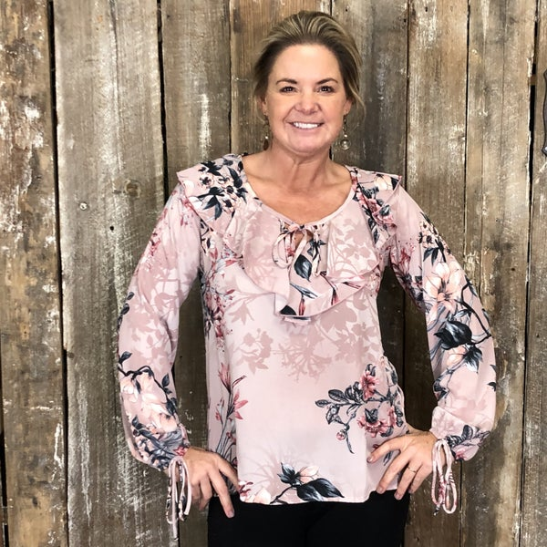 Mauve Floral Print Top with Ruffled Neck and Tie Detail (GA2)