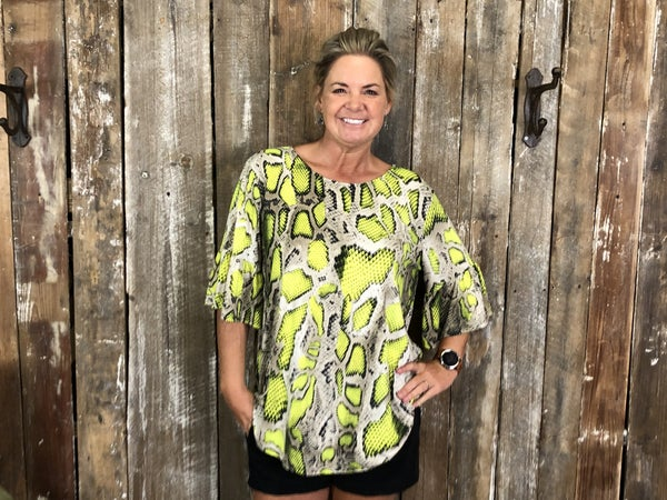 Plus Neon Snakeskin Print Top with 3/4 Ruffle Sleeves with Round Neckline(GA3)