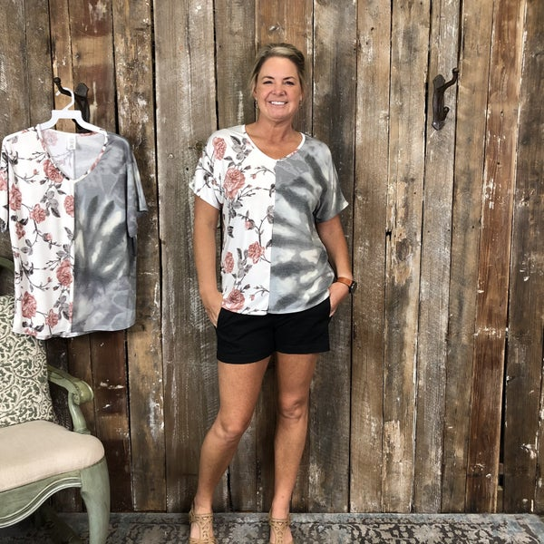 Contrasting Grey/White Tie Dye/Ivory Floral Print Top with V-Neck(GA2)